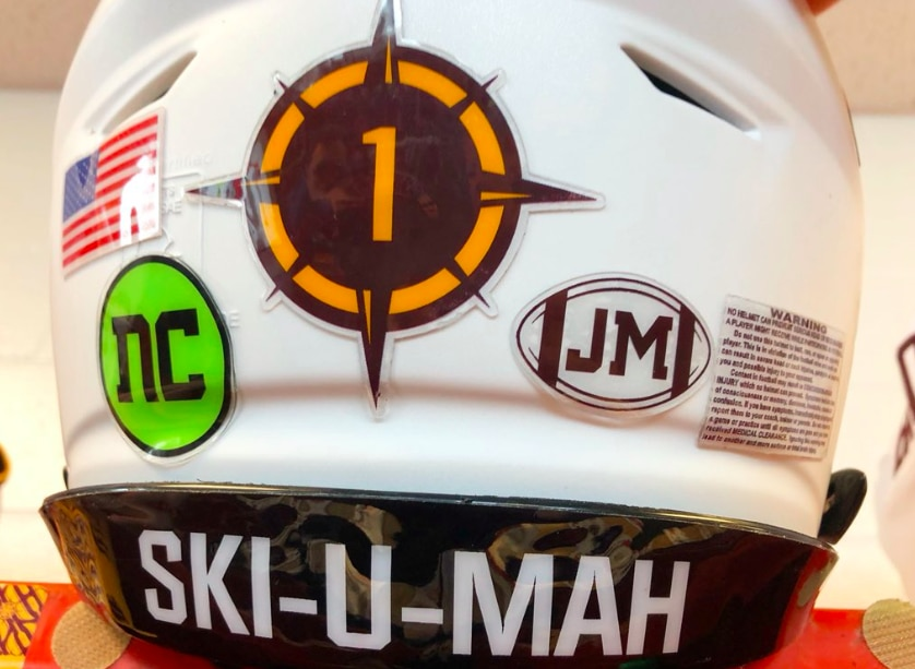 Minnesota football players honored former teammate Nick Connelly with helmet stickers at Saturday's game.