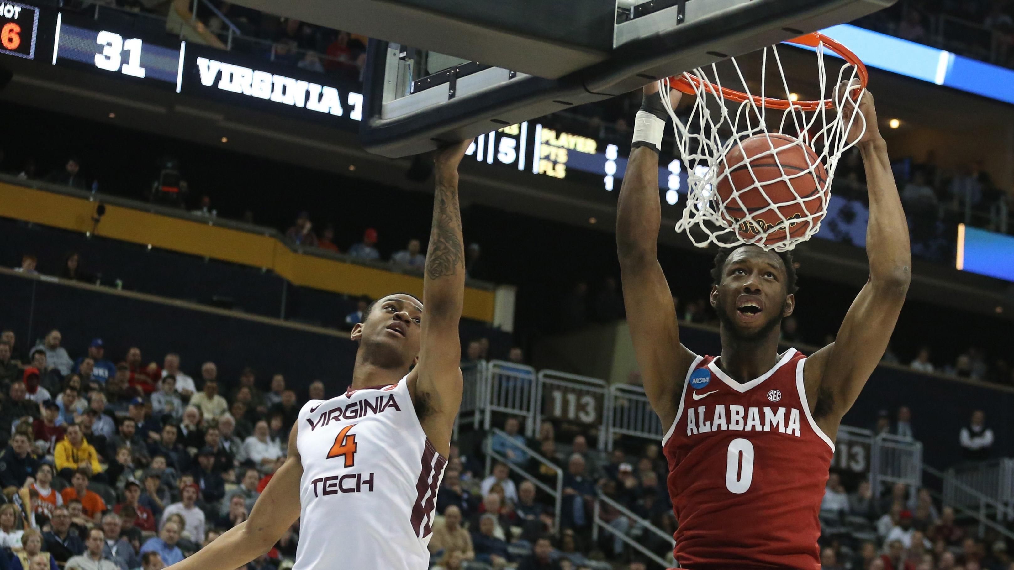 Alabama's Donta Hall dunks against Virginia Tech