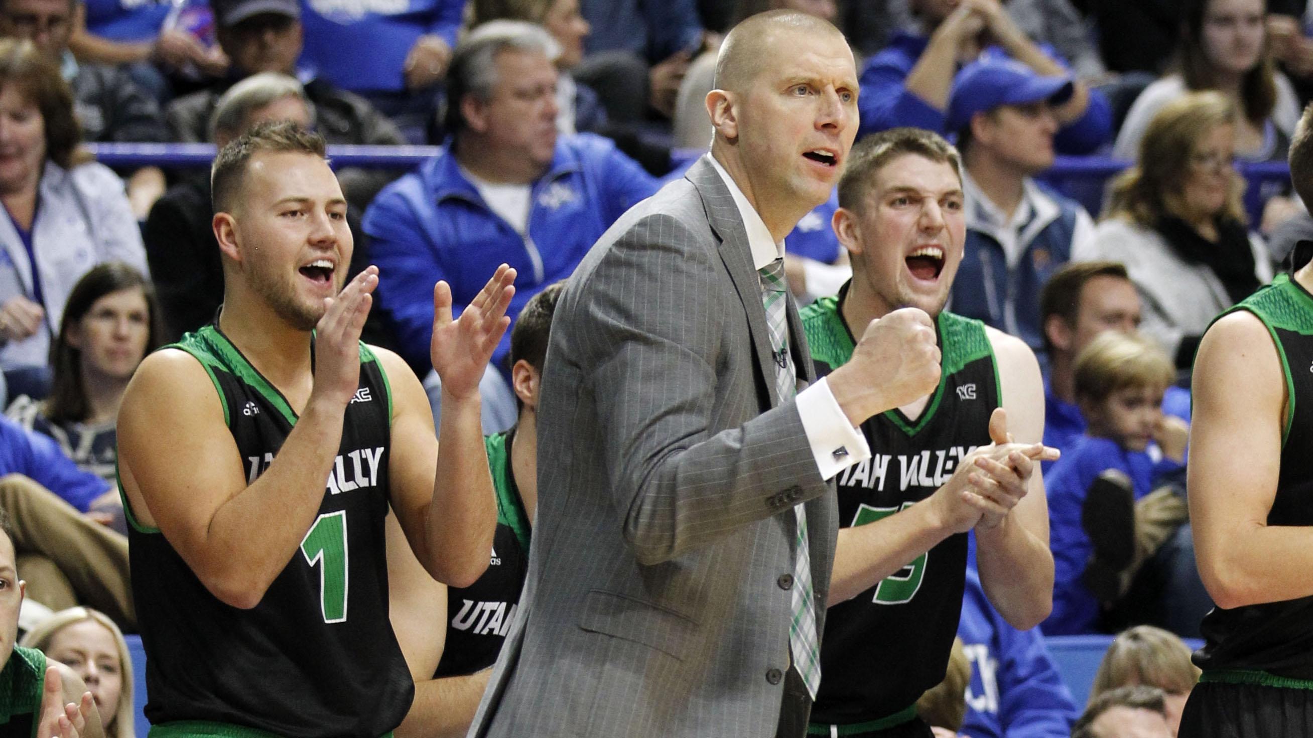 Utah Valley basketball celebrates
