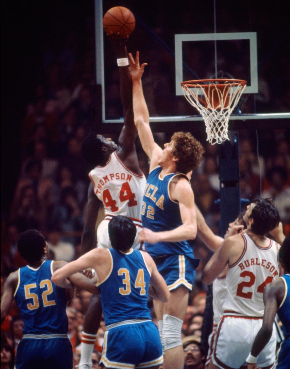 David Thompson shoots over Bill Walton in the 1974 Final Four.