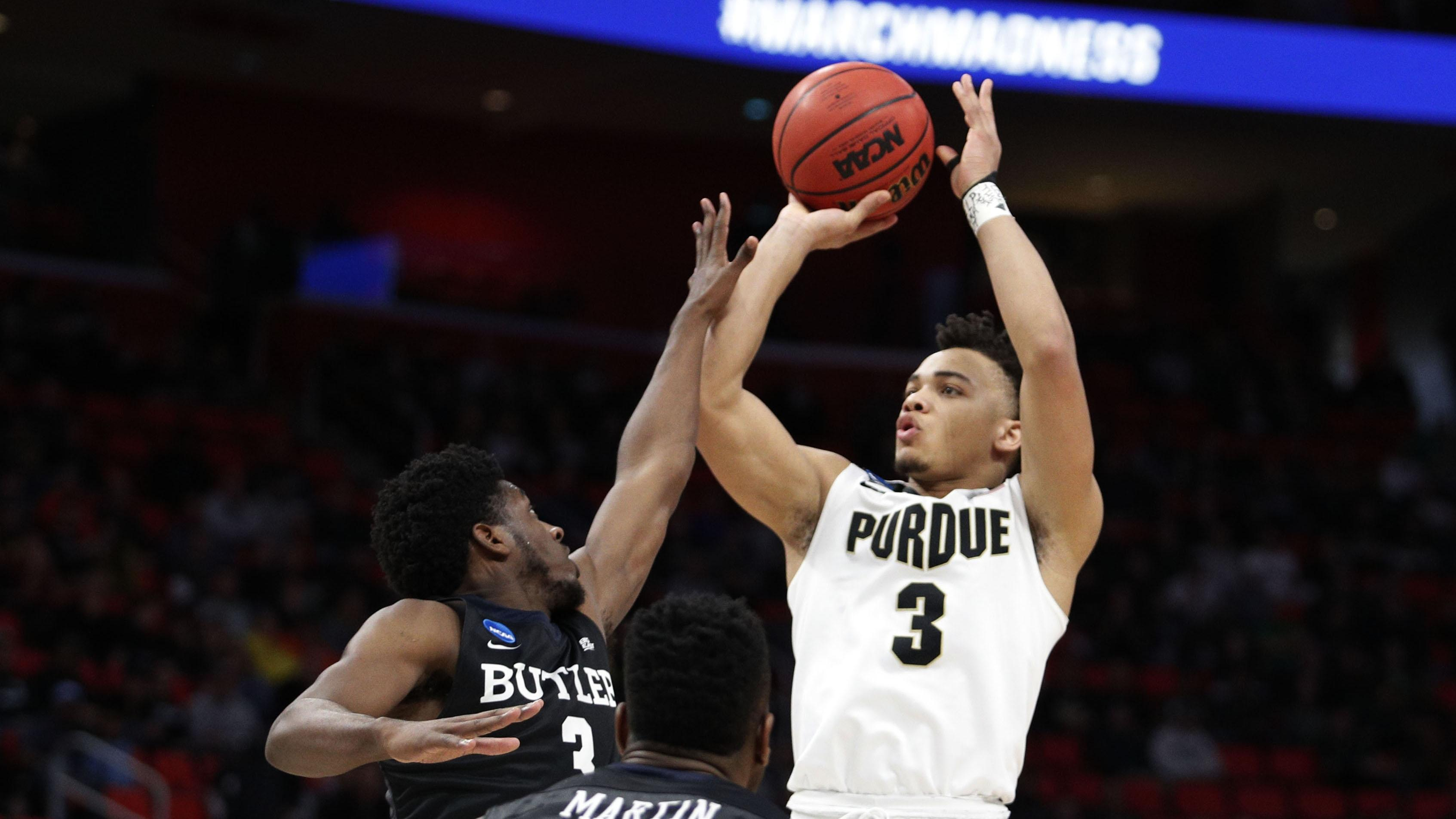 Purdue's Carsen Edwards shoots over Butler's Kamar Baldwin