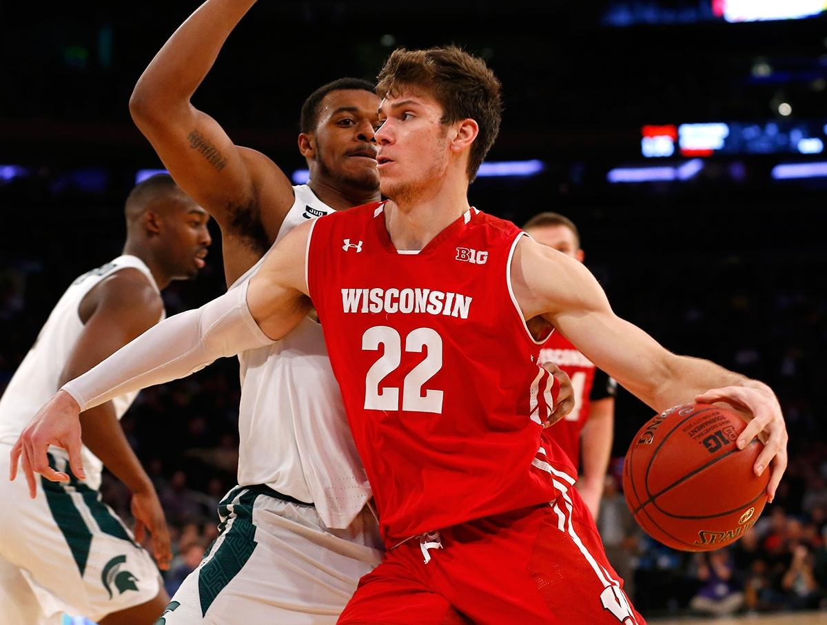 Wisconsin's Ethan Happ drives during the 2017-18 season.