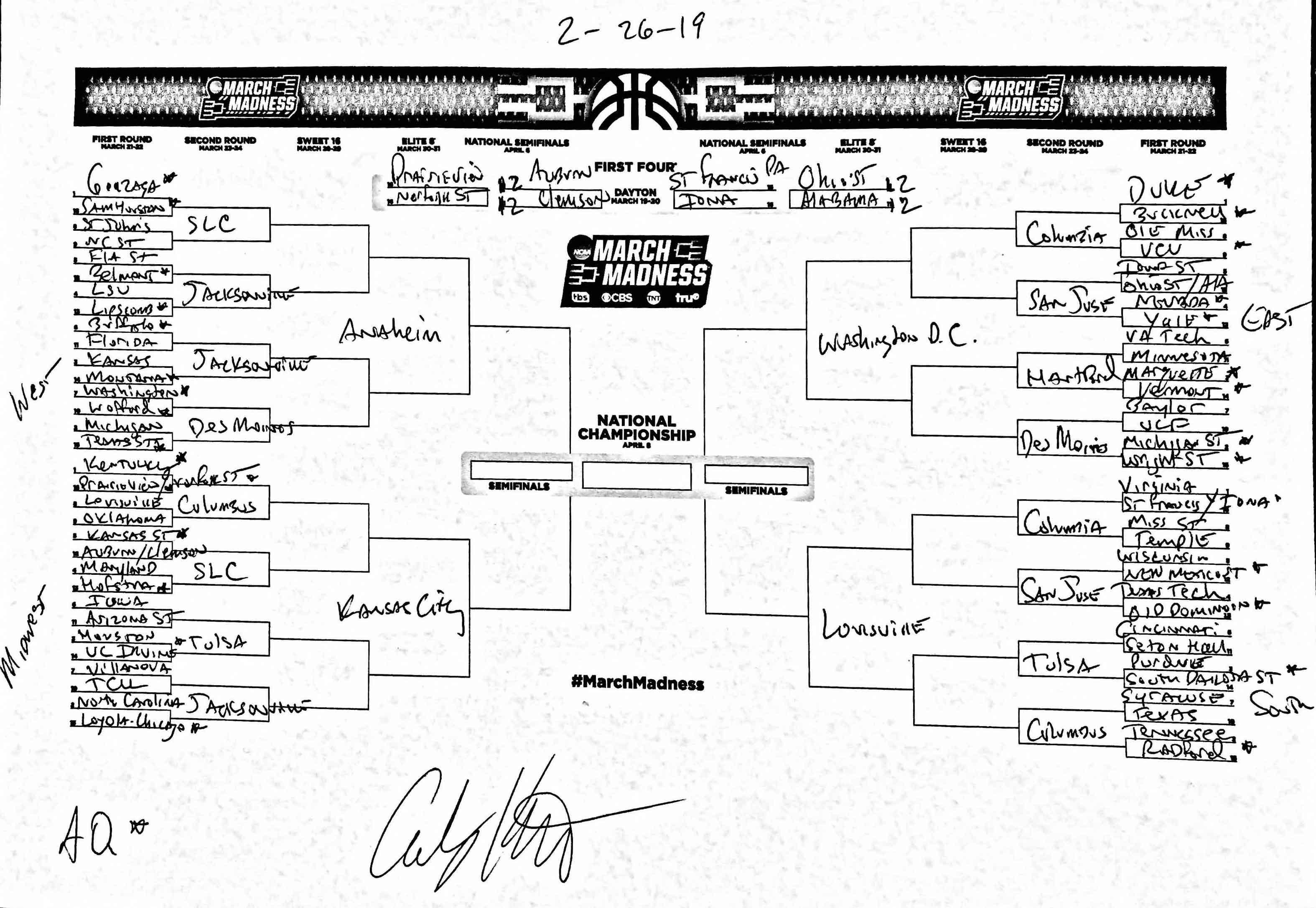 Andy Katz's NCAA tournament bracket prediction February 26
