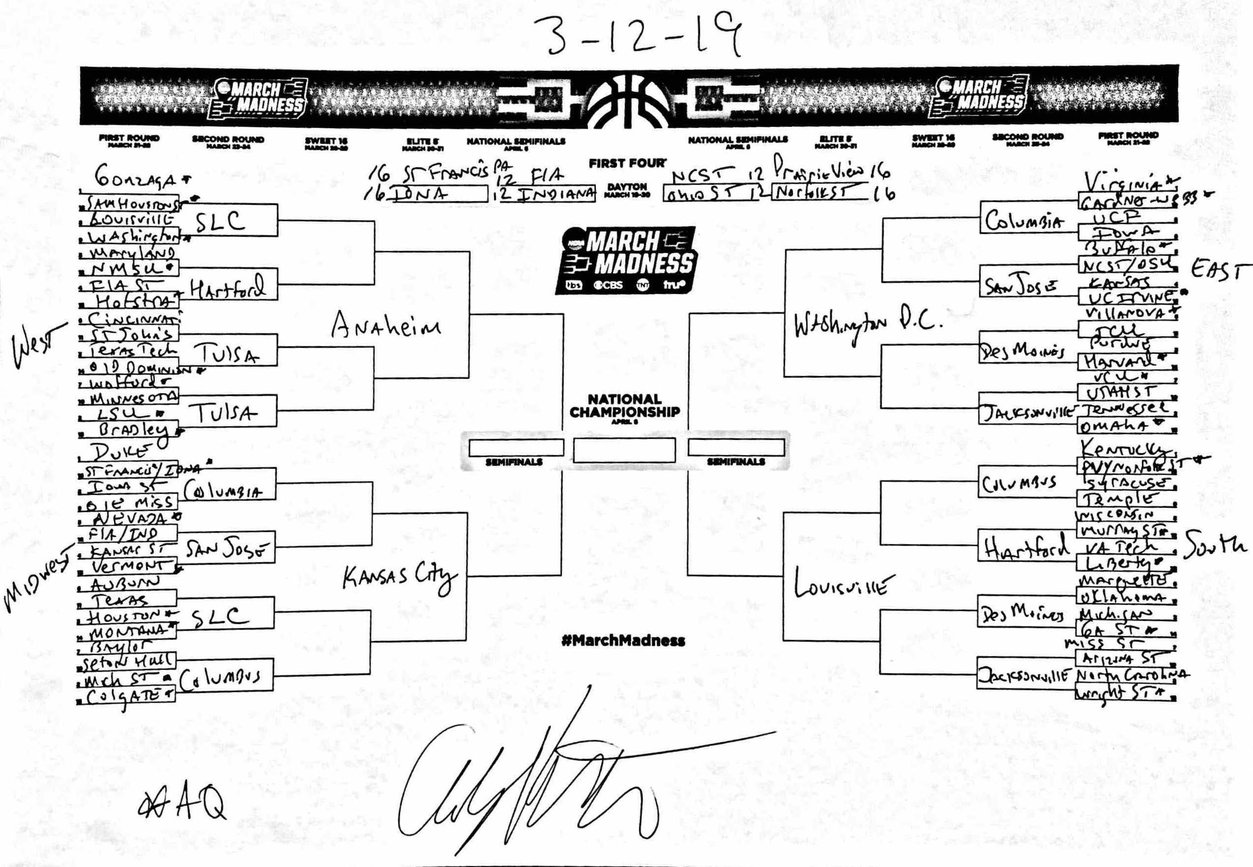 Andy Katz's NCAA tournament bracket prediction March 12