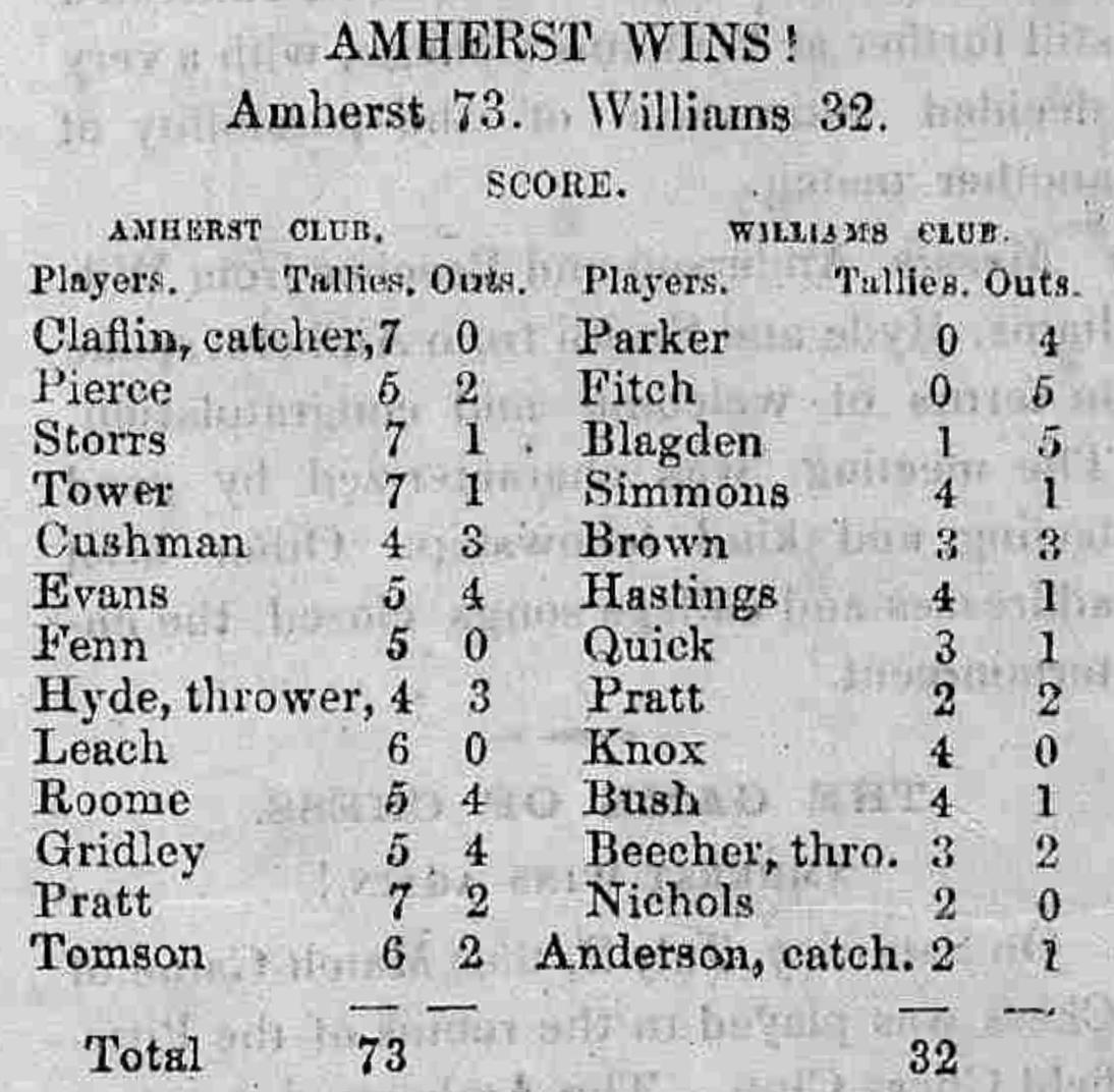 Amherst Express' account of Amherst beating Williams in 1859