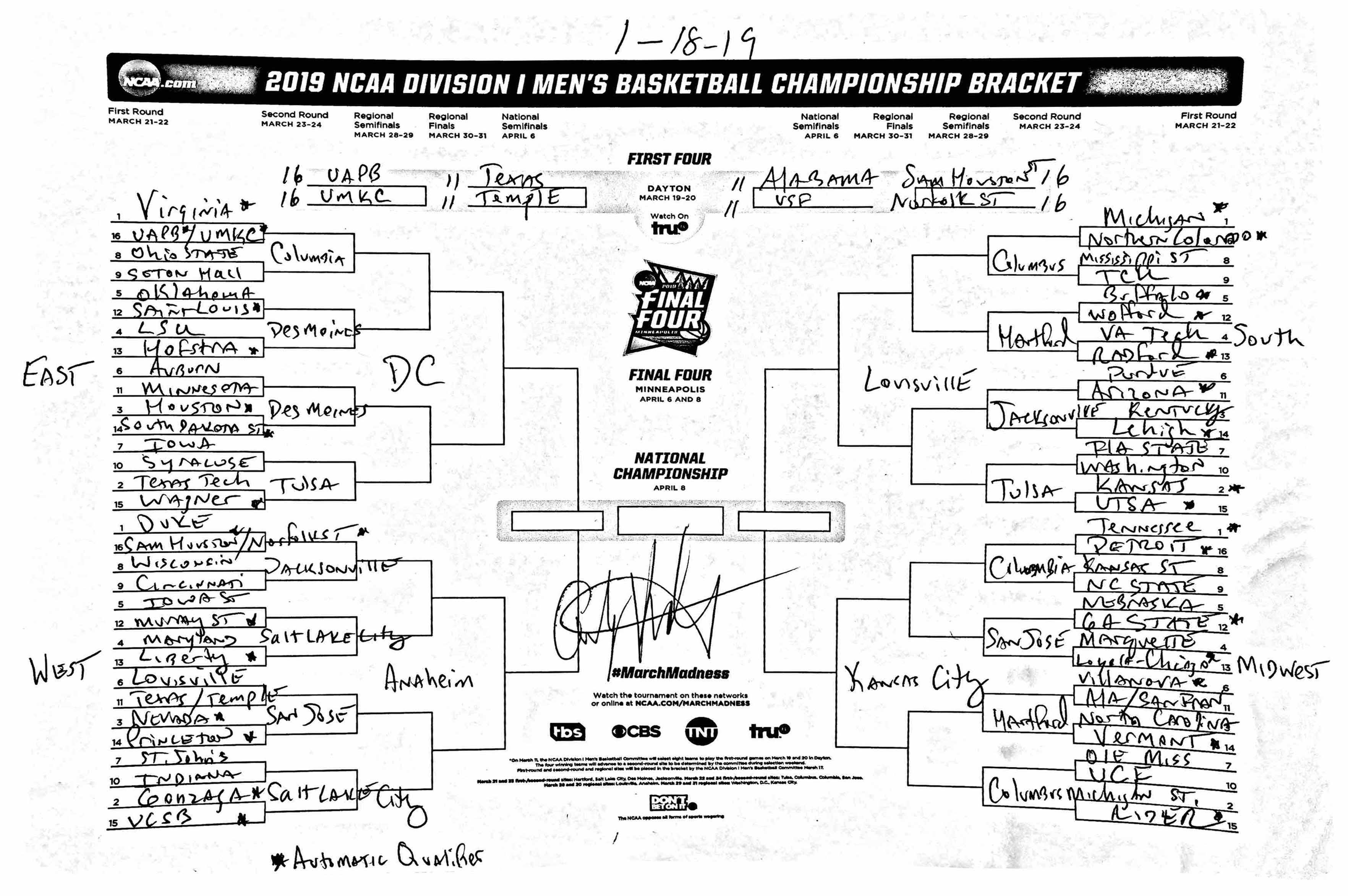 This is a photo of Comprehensive 2020 March Madness Printable Bracket