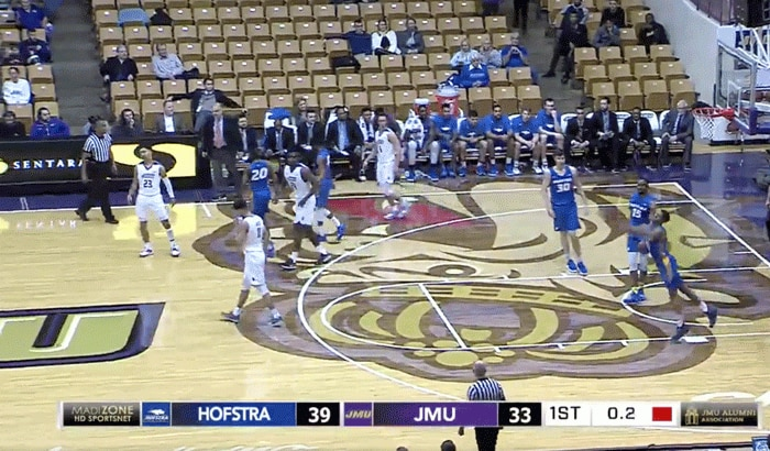 Hofstra's Eli Pemberton's full-court heave went in at the end of the first half on Thursday.