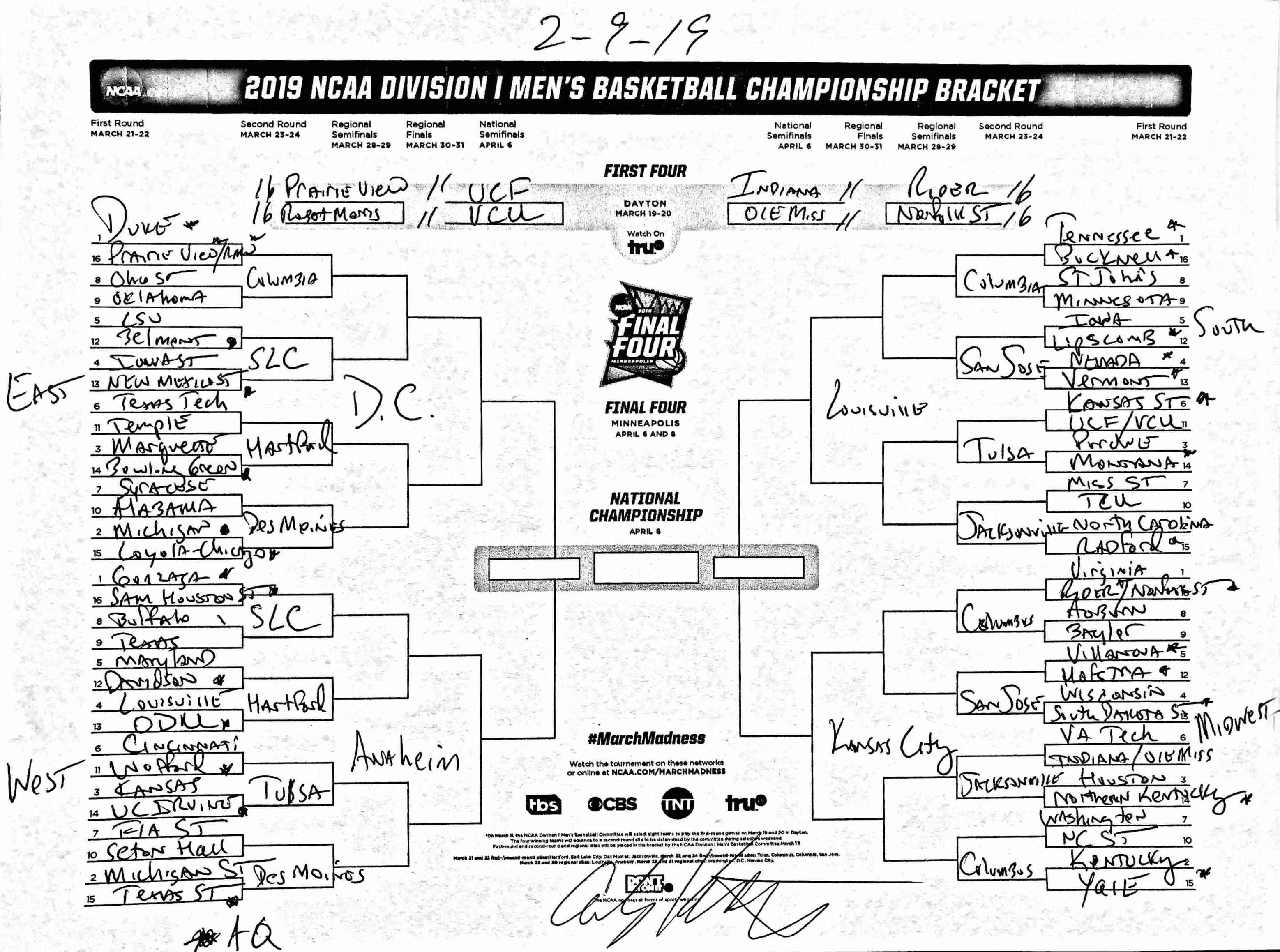 Asa Houston Calendar February 2019 The complete March Madness field of 68 predicted after the Top 16