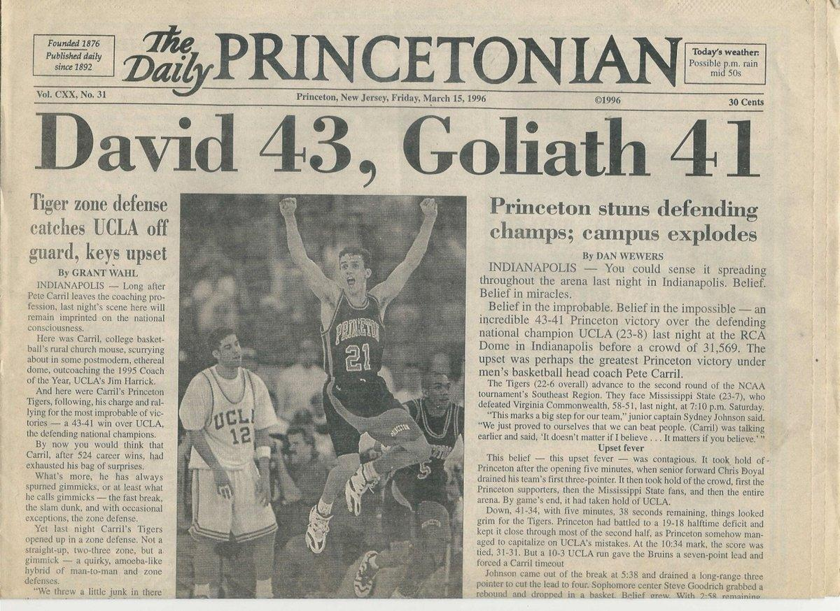 Princeton's student newspaper recounts the 1996 win over UCLA