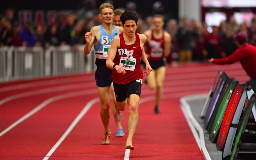 Harvard's Kieran Tuntivate won the 3000m individual title with just one shoe