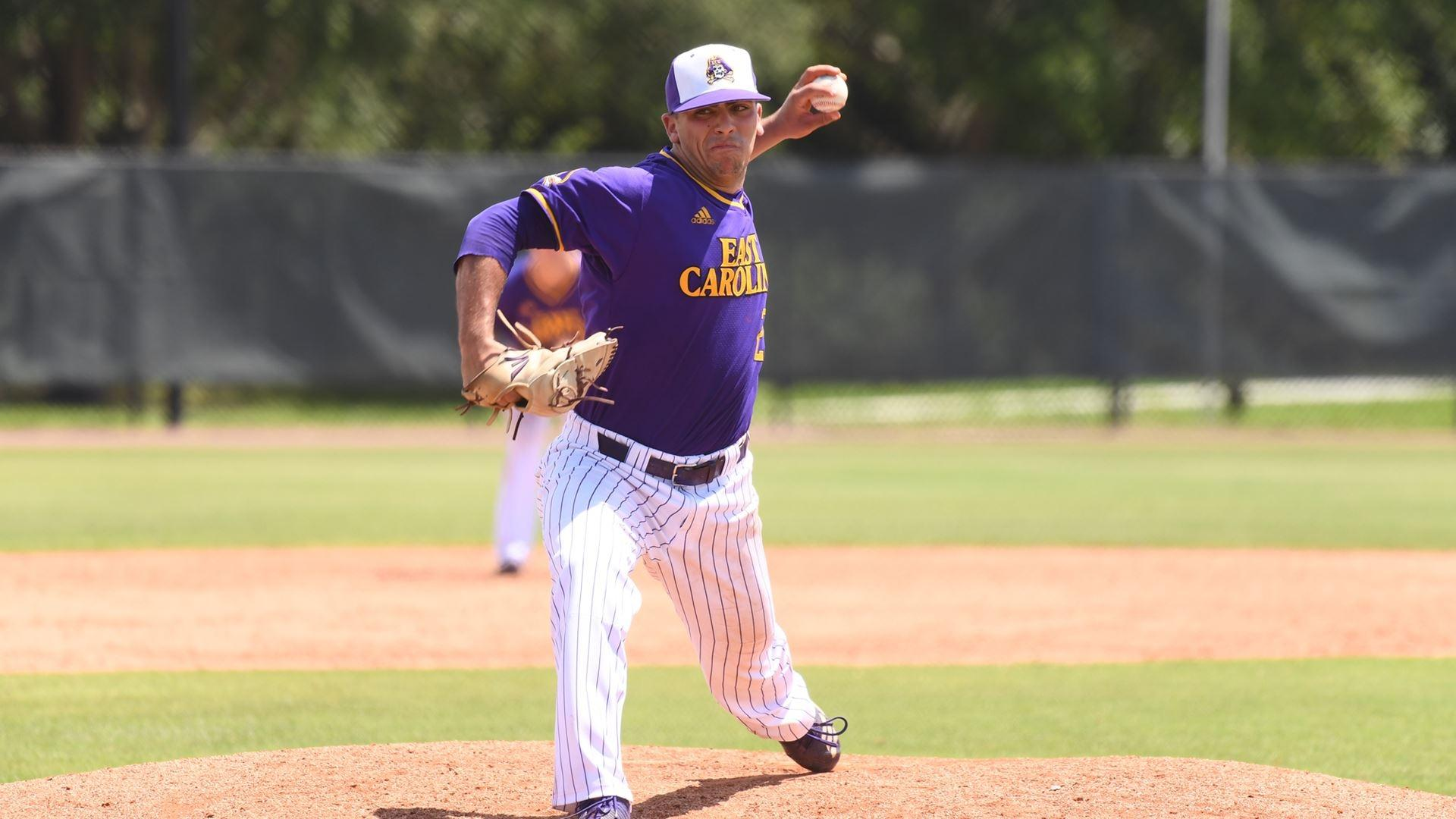 East Carolina baseball's Jake Kuchmaner throws the Pirates