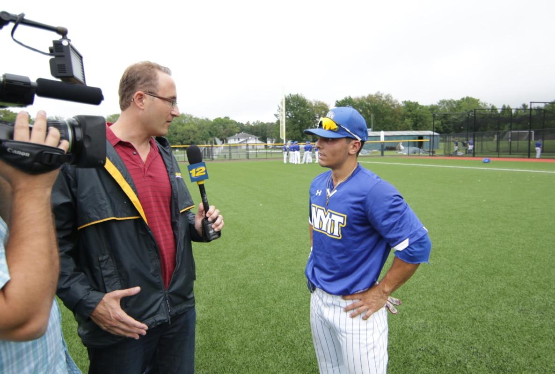 NYIT baseball EJ Cumbo on television.