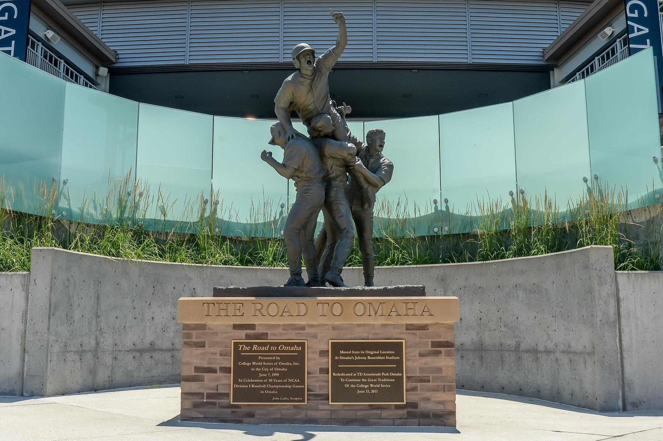 The Road to Omaha statue at the College World Series.