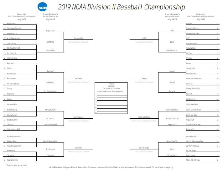 The 2019 DII baseball tournament bracket.