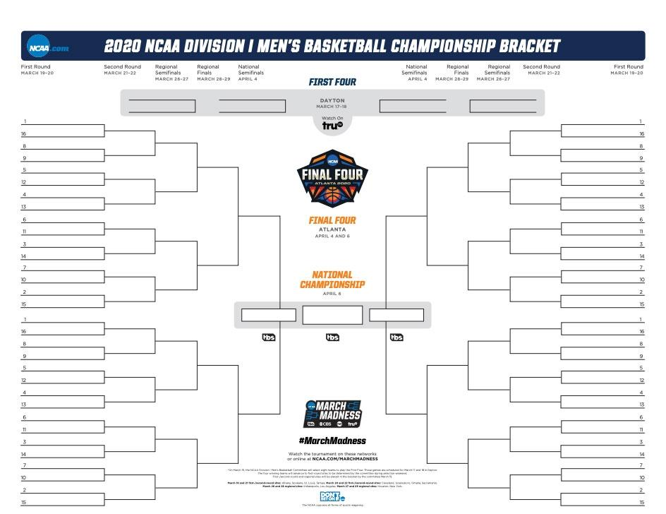 2020 Ncaa Bracket Printable March Madness Bracket Pdf