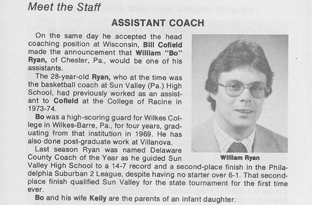 Bo Ryan -- 1976 Wisconsin media guide
