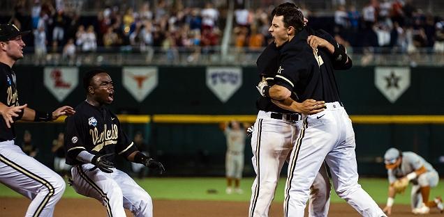 Teammates mob Vanderbilt's Tyler Campbell