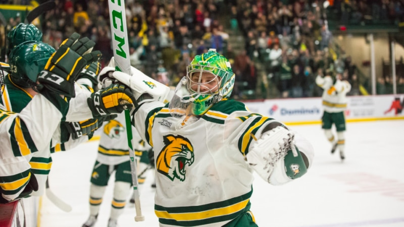 Northern Michigan goalie Atte Tolvanen made history with his Friday night goal.