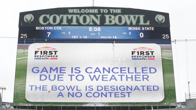 The Armed Forces Bowl was cancelled on Wednesday due to lightning.