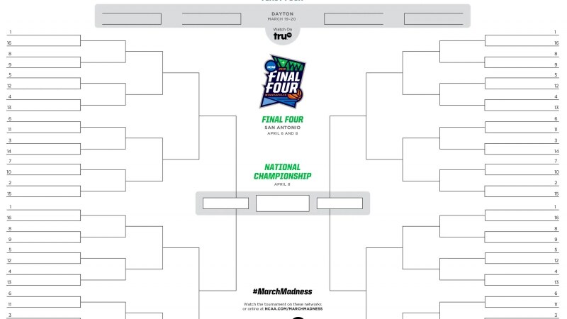 2019 March Madness printable bracket