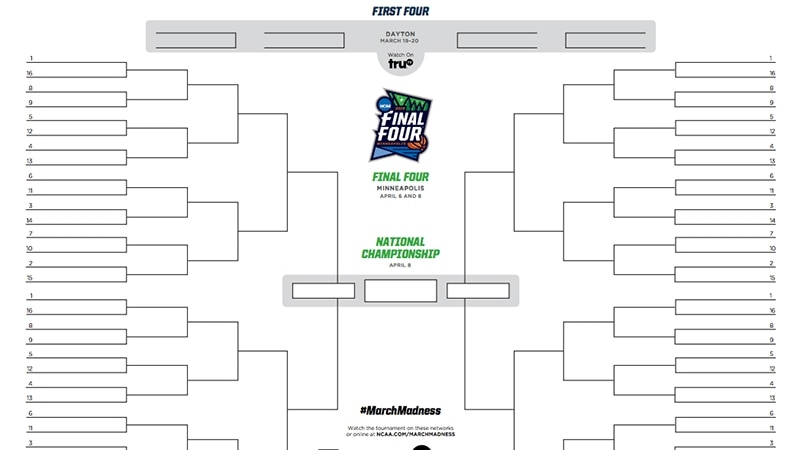 NCAA bracket 2019: Printable March Madness tournament bracket