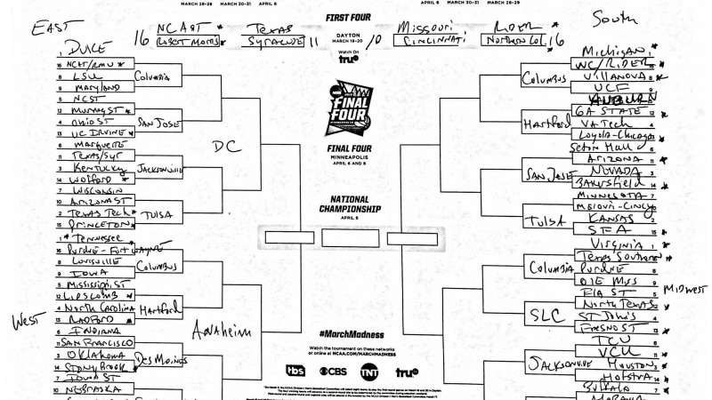 Andy Katz's March Madness bracket predictions for January 8