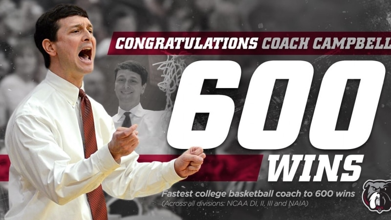Mark Campbell is the fast coach to 600 wins in NCAA women's basketball history.