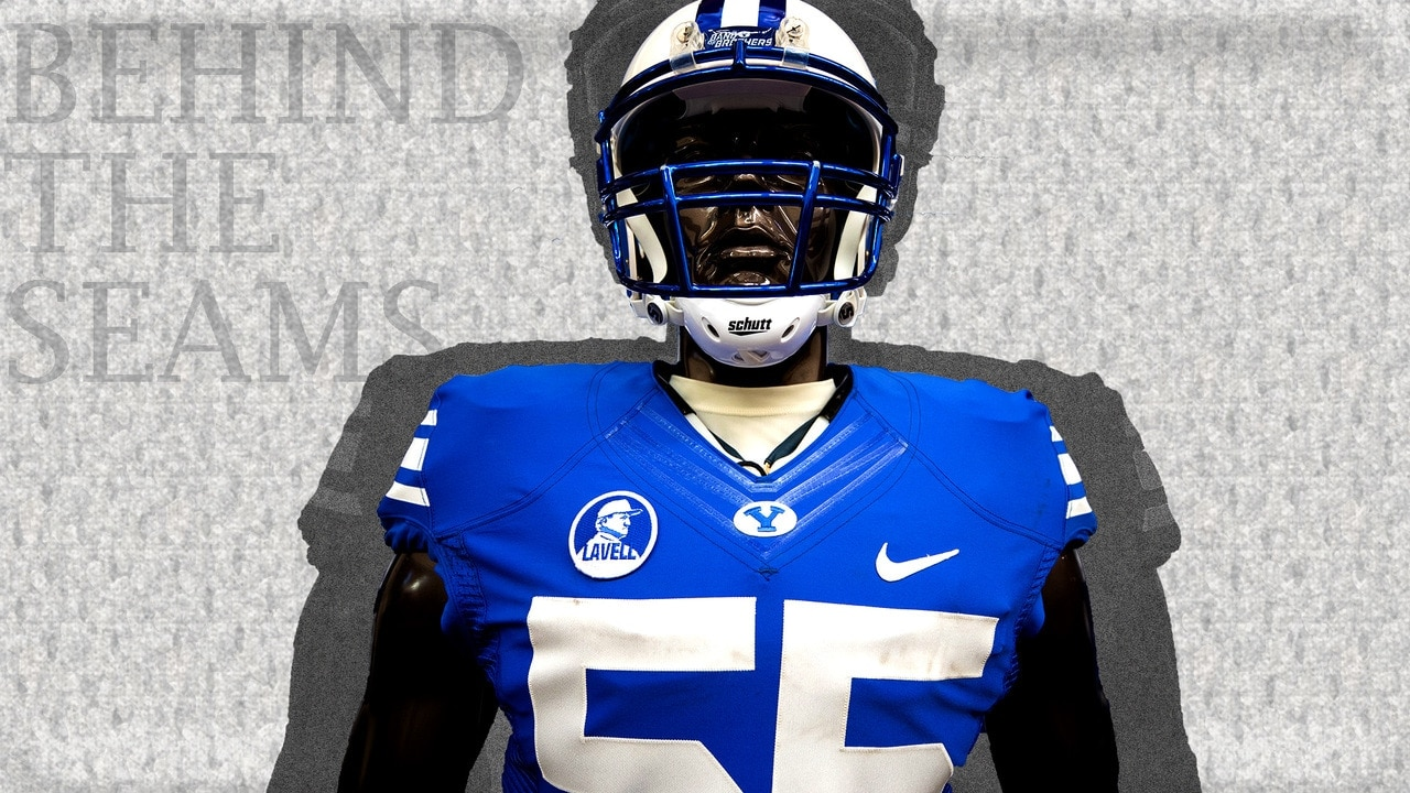 brand new 54af6 c57e6 Behind the Seams features BYU's patch honoring late coach LaVell Edwards