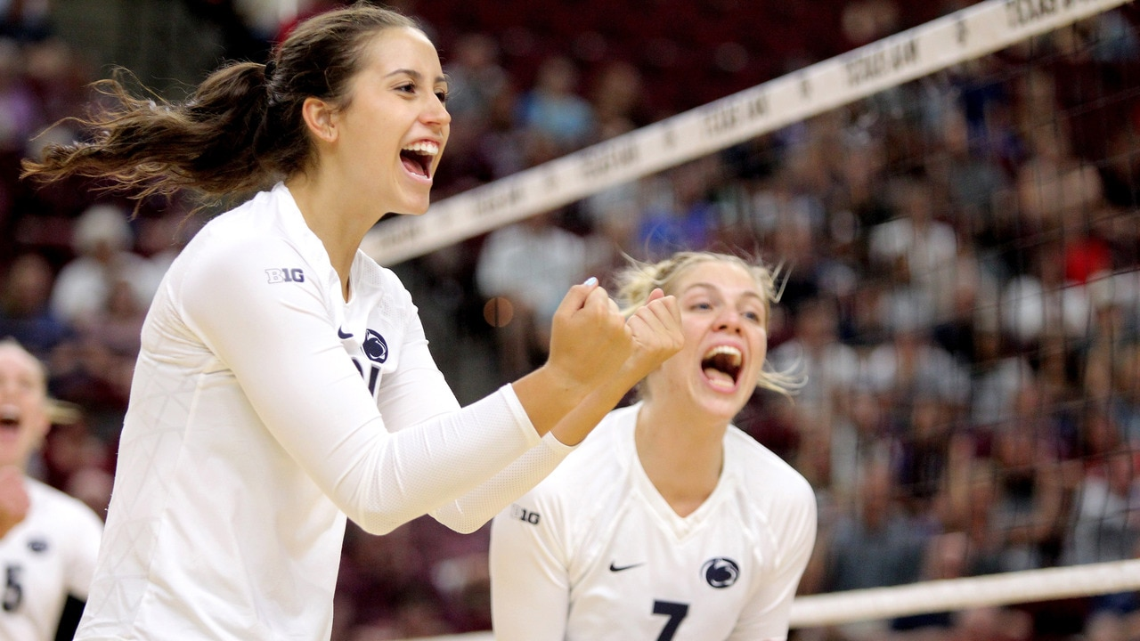 college volleyball: no. 9 penn state outlasts no. 5 nebraska in five