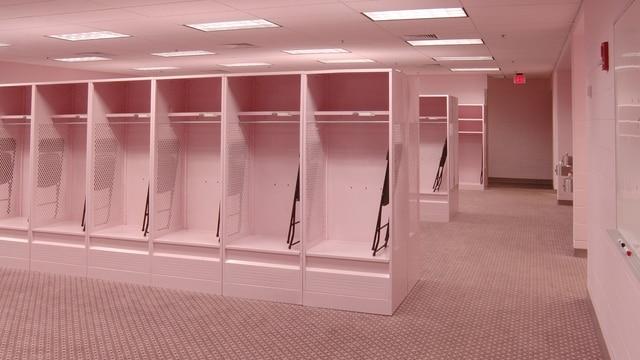 Traditions Iowa S Pink Visitors Locker Room Ncaa Com